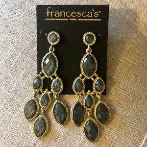 Francesca's Gray & Gold Sparkling Dangle Earrings